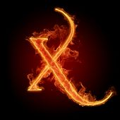 Fiery font. Letter X