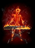 Keyboardist Series of fiery illustrations