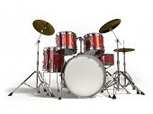 stock photo of drum-set  - Drum kit isolated on white background - JPG