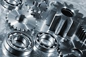 titanium and steel ball-bearings and gears, aerospace engineering parts poster