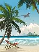 Tropical paradise. Vector illustration of the tropical beach.