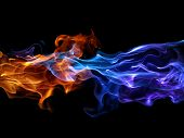 foto of fire  - Blue and red fire - JPG