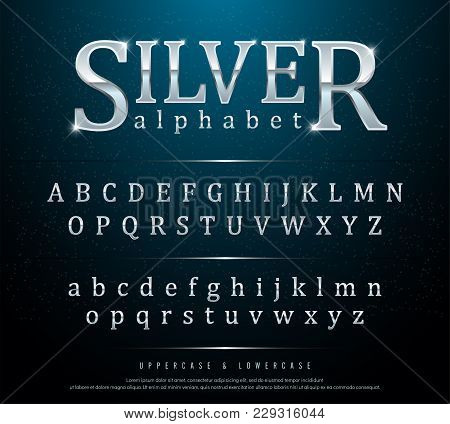80s Retro Elegant Silver Colored Metal Chrome Alphabet Font Typography Classic Style Se