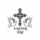 Easter Day Celebration Icon Of Cross Crucifix And Doves For Christian Religious Holy Easter Sunday H poster