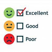 Customer Service Satisfaction Survey Form. Quality Control. Vector Illustration. poster