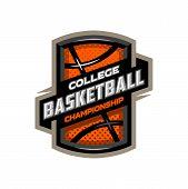 College Basketball, Sports Logo Emblem. Vector Illustration poster