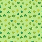 St Patricks Day Shamrock Seamless Pattern - Vector Irish Clover Background poster