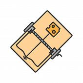 Mouse Trap Color Icon. Rodents Bait. Isolated Vector Illustration poster