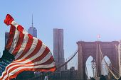 Постер, плакат: The Brooklyn Bridge In New York City Is One Of The Oldest Suspension Bridges In The United States I