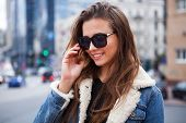 Close Up Fashion Street Stile Portrait Of Pretty Girl In Fall Casual Outfit Beautiful Brunette Posin poster