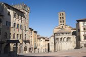 Medieval Square In Arezzo (tuscany, Italy)
