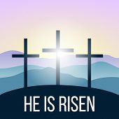 He Is Risen. Bible Quote, Holy Cross, Silhouettes Of Mountains, Forest At Sunrise. Israel, Vector Il poster