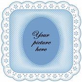 White Eyelet Lace Frame, Pastel Blue