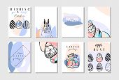Hand Drawn Vector Abstract Creative Happy Easter Greeting Card Design Collection Set Template With F poster