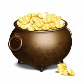 Old Iron Cauldron Full Of Gold Coins Isolated On White Background. Stack Of Gold Coins Near The Vint poster