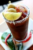 picture of bloody mary  - beautifully served Bloody Mary in a Bar with nice Window light
