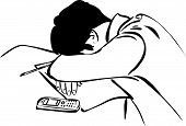 Student sleeps sitting on synopsis
