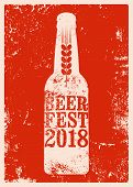 Beer Fest 2018 Typographical Vintage Style Grunge Poster. Retro Vector Illustration. poster