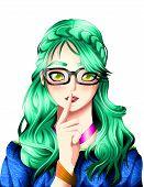 Anime Girl Portrait, Anime And Manga Syle. poster