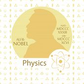 Stylized Nobel Medal. Silhouette Of Nobel In A Flat Style. Seamless Pattern With Elements On A Physi poster