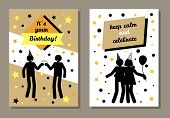 Its Your Birthday Cards Set, Collection Of Postcards For Birthday Party, Keep Calm And Celebrate, Wi poster