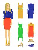 Stylish Modern Blonde Woman With Summer Clothes. Elegant Dresses, Fashionable High Heel Shoes And Co poster