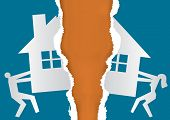 Division Of Property At Divorce. A Divorced Couple Ripping Paper With The Symbol Of The House. Vecto poster