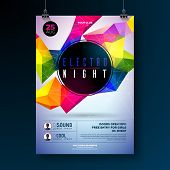 Night Dance Party Poster Design With Abstract Modern Geometric Shapes On Shiny Background. Electro S poster