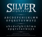 80s Retro Elegant Silver Colored Metal Chrome Alphabet Font. Typography Classic Style Silver Font Se poster