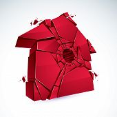 Broken Home Concept, House Broken To Pieces, Vector Realistic 3d Illustration. poster