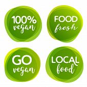 Eco Bio And Organic Food Label. Vegan Product Element Green Labels Or Sticker. Ecology Food Label. poster