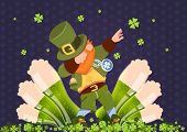 Happy St. Patricks Day Irish Festival Holiday With Green Leprechaun Over Glasses Of Beer Flat Vector poster