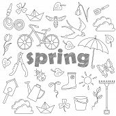 Set Contour Cartoon Of Icons On A Theme Of Spring , Simple Contour Icons, Dark Contours On White Bac poster