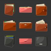 Various Leather Open Or Close Purses, Wallets And Clutches For Men And Women With Banknotes And Cred poster