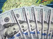 Hundred Dollar Bills On The U.s. Map. American Economy poster