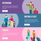 Travelling People Horizontal Flyers. Young Family With Children Waiting A Flight And Tourists With T poster