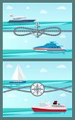 Pair Of Colorful Vector Illustrations With Sea Vessels Motor Boats Yacht And Liner, Calm Sea Water C poster