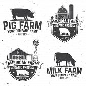 American Farm Badge Or Label. Vector Illustration. Vintage Typography Design With Cow, Pig And Farm  poster