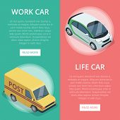 City Transport For Work And Life Isometric Vertical Flyers With Compact City Car And Delivery Van. M poster