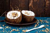 Healthy Breakfast In Coconut Bowl. poster