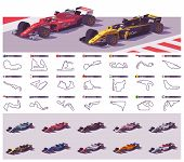 Vector Motor Racing Tracks Collection And Set Of The Open Wheel Racing Cars poster