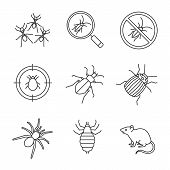 Pest Control Linear Icons Set. Cockroach Searching, Ants, Stop Roaches, Mite Target, Ground Beetle,  poster