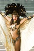 stock photo of school carnival  - Young girl in a very elaborate costume Samba