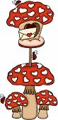 Scalable Vectorial Representing A Love Mushroom Mailbox With Ladybugs, Element For Design, Illustrat poster