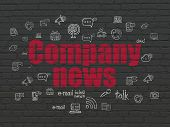 News Concept: Painted Red Text Company News On Black Brick Wall Background With  Hand Drawn News Ico poster