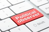 Political Concept: Computer Keyboard With Word Political Observer, Selected Focus On Enter Button Ba poster