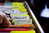 Tax Refund Tax Filing For 2018 Tax Time,hand In Filing Cabinet Looking For Receipts And Deductions O poster