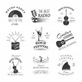 Logos Set For Jazz Festival Or Live Concert. Emblems With Guitar, Saxophone, Retro Player, Trumpet,  poster