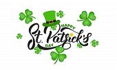 Saint Patricks Day. Clover Shamrock Leaves Background And St. Patricks Lettering. St. Patricks Day poster