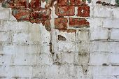 Vintage Old Brick Wall Texture. Grunge Red White Stonewall Background. Distressed Wall Surface. Grun poster